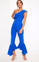 PrettyLittleThing Cobalt One Shoulder Frill Detail Flared Ankle Jumpsuit