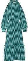Fendi Cutout Striped Silk-cady Midi Dress - Light blue