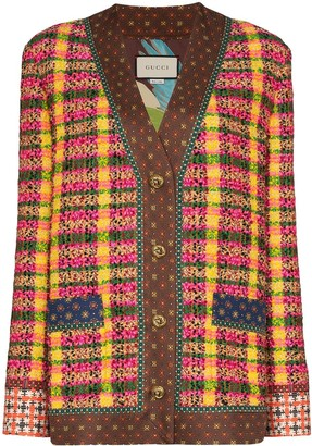 Gucci check tweed buttoned jacket