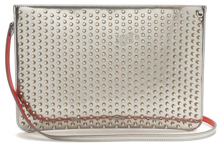 Christian Louboutin Loubi spike-embellished leather clutch