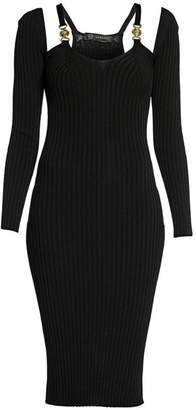 Versace Ribbed Cold-Shoulder Cutout Dress