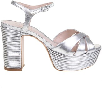 Schutz Silver Laminated Leather Sandal
