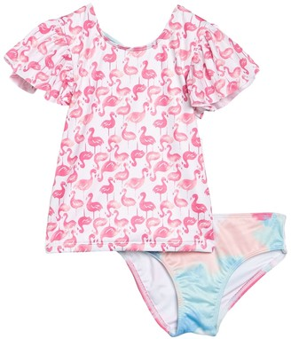 Harper Canyon Patterned 2-Piece Rashguard Swimsuit (Toddler & Little Girls)