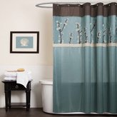 Lush Decor Triangle Home Fashions 19259 Cocoa Flower Shower Curtain, 72 X 72 Inches, Blue/Brown