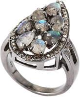Bavna Rhodium-Tone Labradorite & Champagne Diamond Teardrop Ring