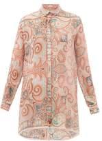 Etro Altea Paisley-print Silk-georgette Shirt - Womens - Light Pink