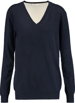 See by Chloe Silk crepe de chine-paneled cotton and wool-blend sweater