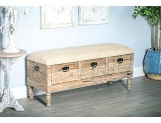 Bungalow Rose Gorgias Rustic Solid Wood 3-Drawer Storage Bench