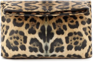Dries Van Noten Leopard-print leather clutch