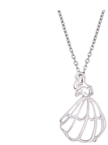 Disney White Gold Plated Belle Outline Necklace