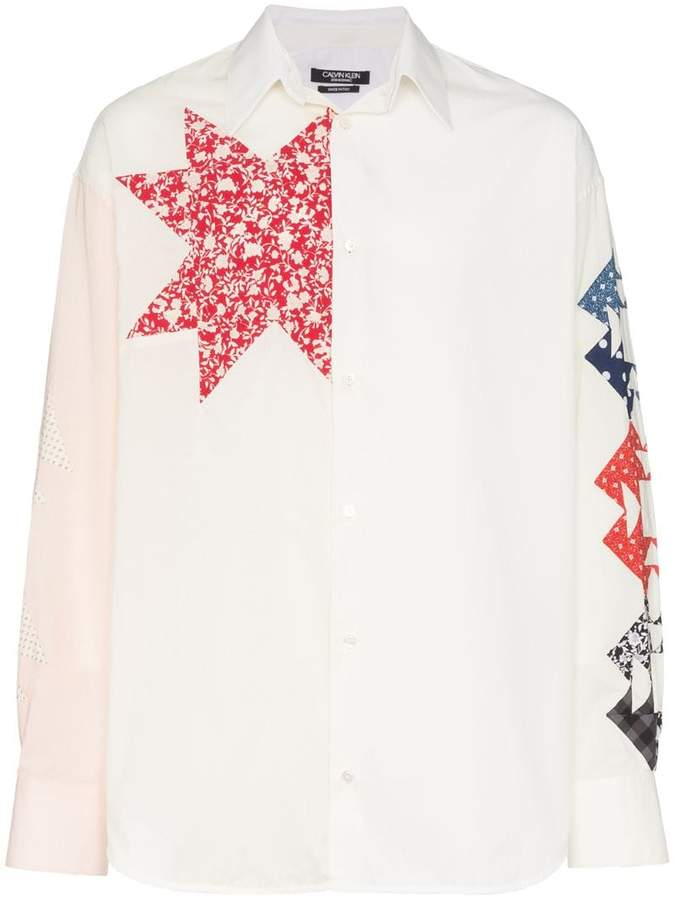 Calvin Klein triangle embroidered cotton shirt