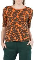 Akris Punto Tropical Leaf Elbow Sleeve Wool & Cotton Sweater
