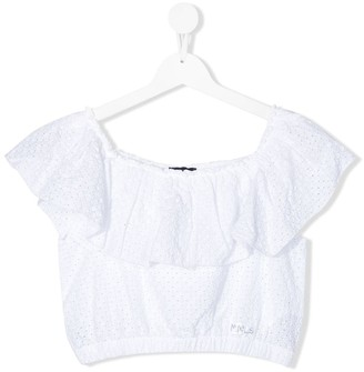 MonnaLisa TEEN embroidered off shoulder cropped blouse