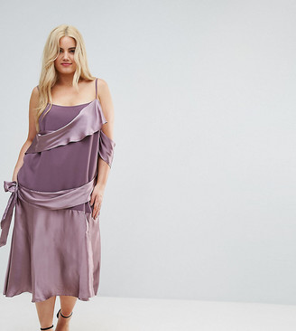 Asos Colourblock Satin Midi Dress with Tie Detail-Purple