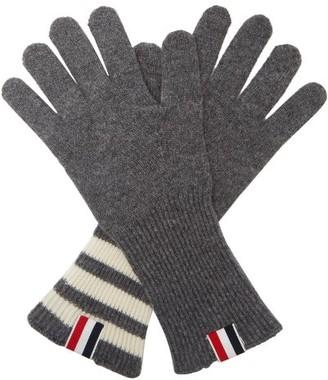 Thom Browne Tricolor Striped-cuff Gloves - Grey
