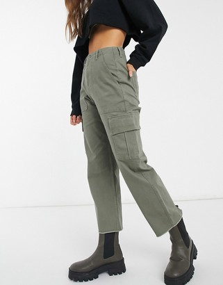 Hollister ultra high rise straight utility pant in khaki