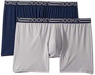 Jockey Active Micro Big Man Midway(r) Boxer Brief 2-Pack (True Navy/Quartz Grey) Men's Underwear