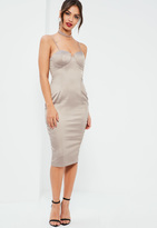 Missguided Nude Silky Bust Cup Midi Dress