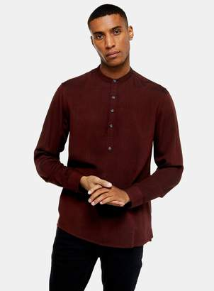 TopmanTopman Burgundy Overhead Grandad Collar Slim Shirt
