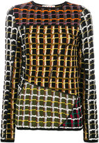 Marni asymmetrical checked top - women - Cotton/Polyamide - 42