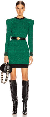 Stella McCartney Puff Shoulder Mini Dress in Spark Green & Black | FWRD