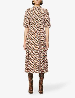 Diane von Furstenberg Nella graphic-print crepe midi dress