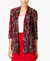 Kasper Glen-Plaid-Print Open-Front Jacket