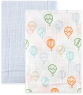 BabyVision® Hudson Baby® 2-Pack Balloons Muslin Swaddle Blankets in Bllue