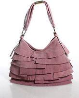 Saint Laurent Pink Leather Magnetic Popper One Strap Ruffled Hobo Handbag