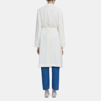 Theory Oaklane Trench Coat in Check Cupro