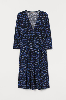 H&M H&M+ V-neck Wrap Dress - Black