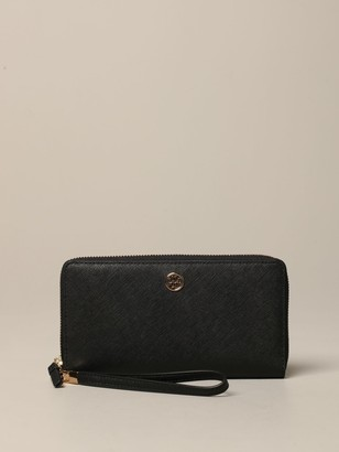 Tory Burch Wallet In Saffiano Leather With Metallic Star