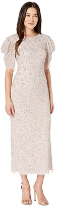 Adrianna Papell Beaded Ankle Length Cocktail Dress with Draped Sleeves (Almond Cream) Women's Dress