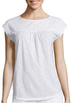 Liz Claiborne Sleeveless Embellished-Yoke Tee - Tall