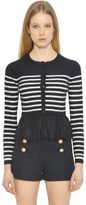 RED Valentino Striped Cable Wool Knit & Lace Cardigan