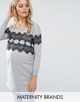 Mama Licious Mama.licious Mamalicious Long Sleeve Sweatshirt With Lace Overlay
