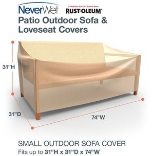 Budge Waterproof Outdoor Patio Sofa Cover, NeverWetA Savanna, Tan, Multiple Sizes