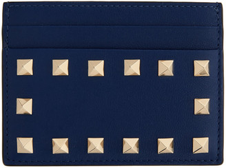 Valentino Blue Garavani Rockstud Card Holder