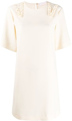 See by Chloe Crepe Ruffle Trim Dress