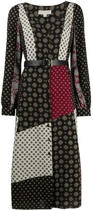MICHAEL Michael Kors Printed Panelled Midi Dress