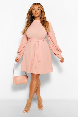 boohoo Plus High Neck Blouson Sleeve Skater Dress