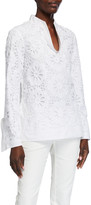 Tory Burch Lace Poplin Front Long-Sleeve Tunic
