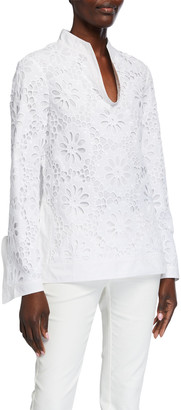 Tory Burch Lace Poplin Front Long-Sleeve Tunic