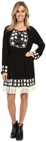 Scully Ebony Embroidery and Lace Trim Dress