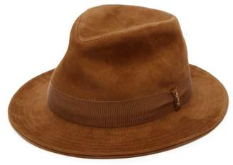 Borsalino Quilted Brim Suede Trilby Hat - Mens - Brown