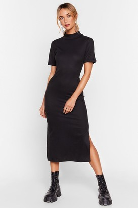 Nasty Gal Womens Here's the Tee High Neck Midi Dress - Black - 6