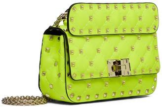 Valentino Mini Rockstud Spike Fluo Leather Bag