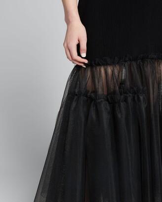 Alexander McQueen Tulle-Bottom Ribbed Tank Dress