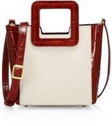 STAUD Mini Shirley Croc-Embossed Leather-Trimmed Canvas Tote
