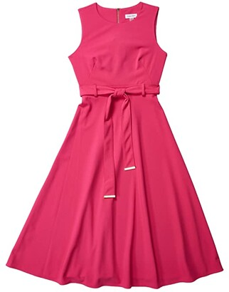 Calvin Klein A-Line Dress with Self Tie Belt (Hibiscus) Women's Dress